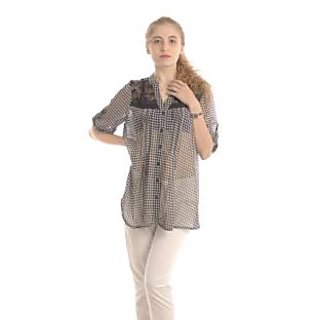 Women Top - Dainty Doll Houndstooth Print Lace Shoulder Top - Black Color