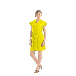 Women Dress - Sleeves Dress With Metallic Buttons And Belt - Yellow Color