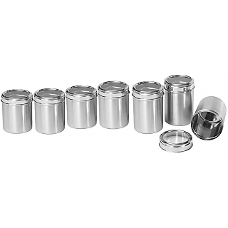 Stainless Steel Kitchen storage Canisters with see through lid - Set of 7 - Size 8,9,10,11,12,13,14