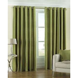 Royal Silky Polyester Green Solid Eyelet Window Curtain