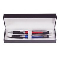 P-92 Red  Blue Contemporary Roller Ball Pens with Silver Trim