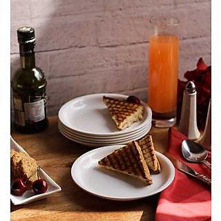 Snack Plates-Incrizma  Round Snack Plate 6 Pc - White
