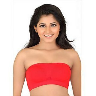 cdd58526cb122c Buy College Girl Seamless Strapless Bandeau Top Tube Bra Lingerie - Free  Size - Red Online- Shopclues.com