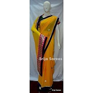Designer Pure Chiffon Saree in yellow