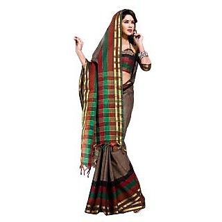 Jagdamba Multicolor Linen Self Design Saree With Blouse
