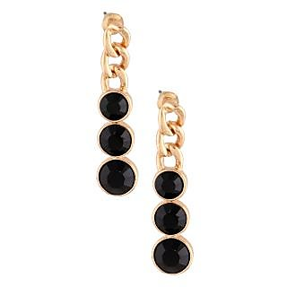 Sparkling Trinkets Gold and Black Dangle Earrings ER042
