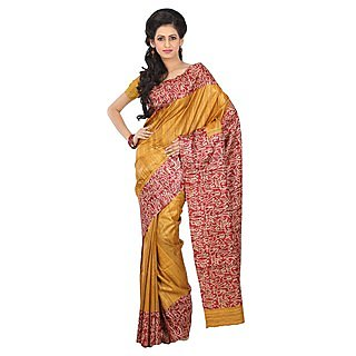 Silk Only Multicolor Linen Printed Saree With Blouse