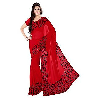 Women's Heavy Embroidery Saree In Red Color