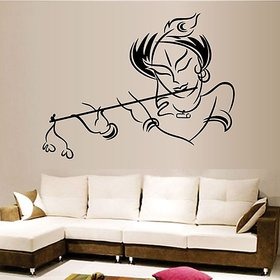 Home Berry Black & Cream Wall Stickers Krishna Modern Art (PVC, 50 cm X70 cm, No of Pieces 1)