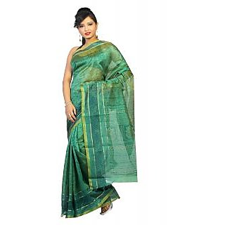 14Fashions Green Art Silk Printed Saree With Blouse