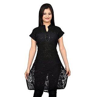 Saadgi Lucknowi Georgette Black Chikankari Kurti (GCR-SEQBL)