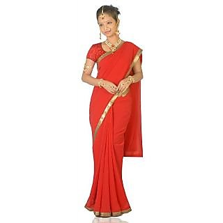 14Fashions Red Georgette Lace Saree With Blouse