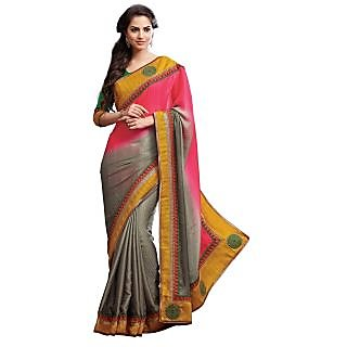 Utkrishtt Multicolor Jacquard Dotted Saree With Blouse