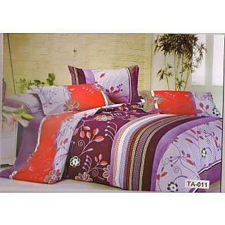 Valtellina Multi Floral With Leaves Print Double Bed Sheet (TITA_D-011)