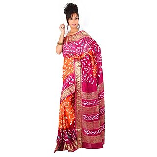 14Fashions Orange Chiffon, Georgette Embroidered Saree With Blouse