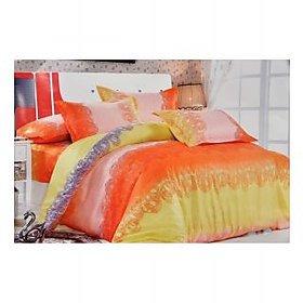 Valtellina Orange And Yellow Printed Single Bed Sheet Set