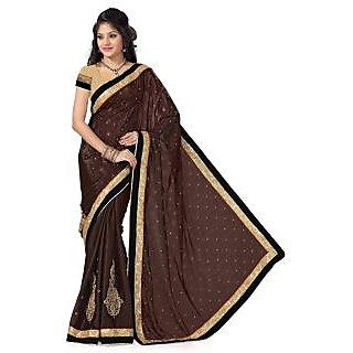 Triveni Black Jacquard Plain Saree With Blouse