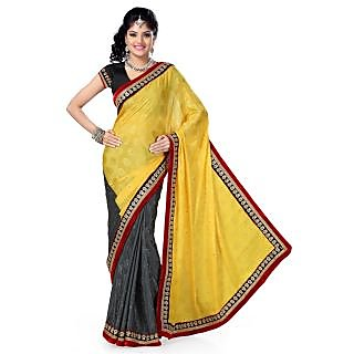 Triveni Gray Satin Jacquard Plain Saree With Blouse