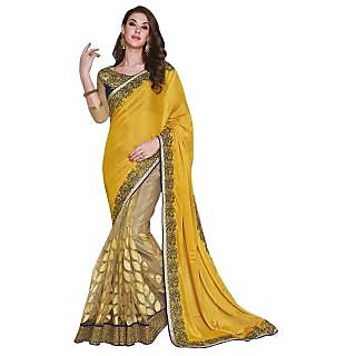Triveni Peach Net Embroidered Saree With Blouse