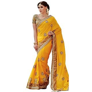 Triveni Yellow Net Embroidered Saree With Blouse