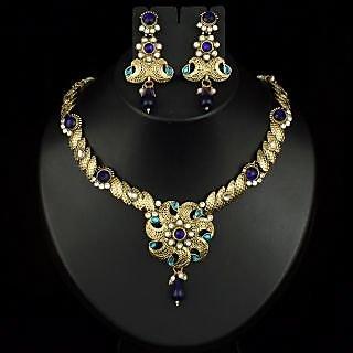 Kriaa Pretty Design Necklace Set in Blue  -  2100106