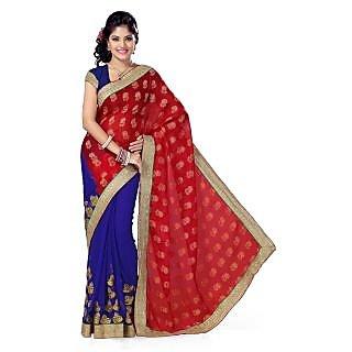 Triveni Green Net Plain Saree With Blouse