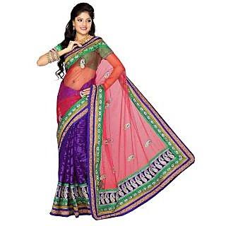 Triveni Pink Net Plain Saree With Blouse