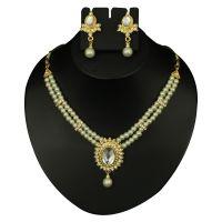 Kriaa White Pearl Necklace Set  -  2100303