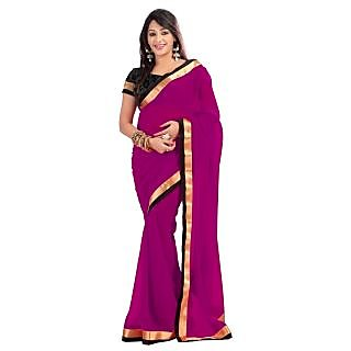 Triveni Maroon Faux Georgette Embroidered Saree With Blouse