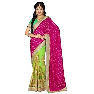 Triveni Pink Net Plain Saree With Blouse