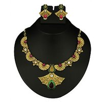 Kriaa Gold Plated Purple & Green Necklace Set  -  2100307