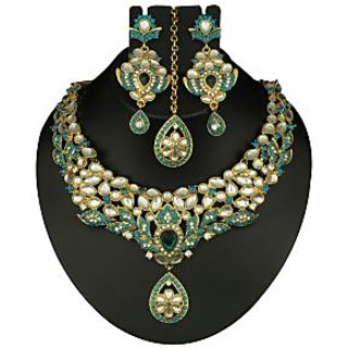 Kriaa Designer Necklace Set With Maang Tikka in Green Color  -  2100304