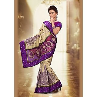 The Beige And Purple Designer Saree With Manipuri Embroidery.