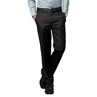 Kanva Black Plain Formal Men's Trouser
