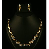 Kriaa Gold Plated Necklace Set in Blue  -  2100406