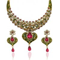 Kriaa Pertty Heart Shape Necklace set Pink & Green Color  -  2100502