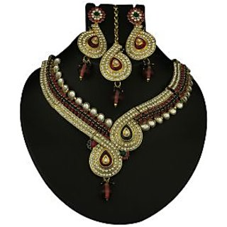 Kriaa Exclusive Gold Plated Necklace Set With Maang Tikka  -  2100801