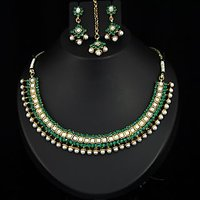 Kriaa Gold Plated Green Necklace Set With Maang Tikka  -  2100902