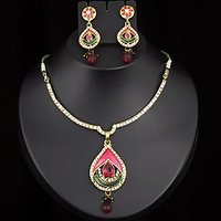 Kriaa Gold Plated Drop Necklace Set in Pink & Green  -  2100905