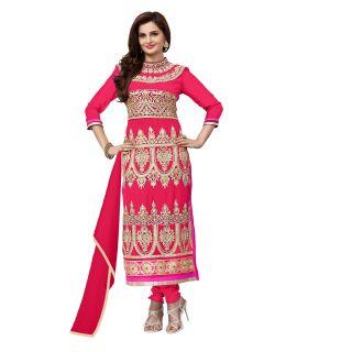 Khushali Women's Gajri Georgette Straight Unstitched Salwar Suit Dress Material