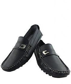 Elvace Men Black Slip On Loafers