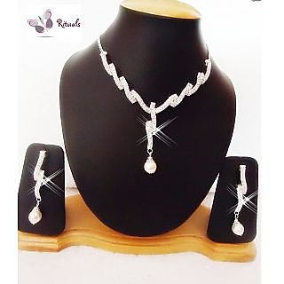 EXCLUSIVE DESIGNER CZ DIAMONDS AND  PEARLS NECKLACE SET
