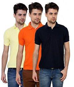 Grand Bear Men'S Multicolor Polo Neck T-Shirt (Pack Of 3)