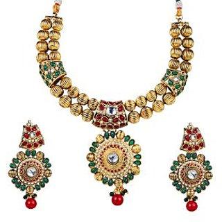 kriaa Exclusive Design Maroon & Green Necklace Set  -  2101403