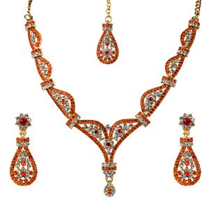 Kriaa Pretty Orange Necklace Set With Maang Tikka   -  2101609