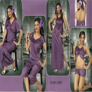 Womens Sleep Wear Set Sexy 6pc Bra Panty Top Capri Nighty   Over Coat 118C  Voilet Wine Shade Fun Bed room Set Bridal Gift Prices in India- Shopclues-  Online ... bee6a8f1a