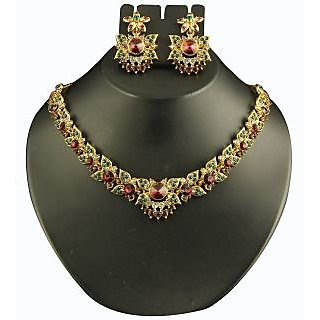 Kriaa Exclusive Design Purple & Green Necklace Set  -  2101906