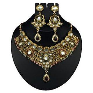 Kriaa Festive Maroon & Green Necklace Set  -  2102201