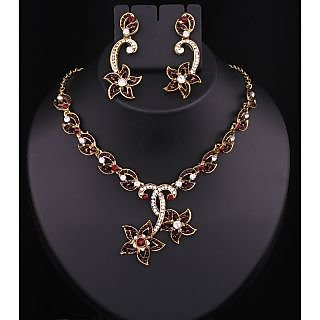 Kriaa Gold Plated Necklace Set in Brown  -  2102403