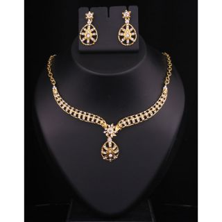 Kriaa Gold Plated Necklace Set in White  -  2102405
